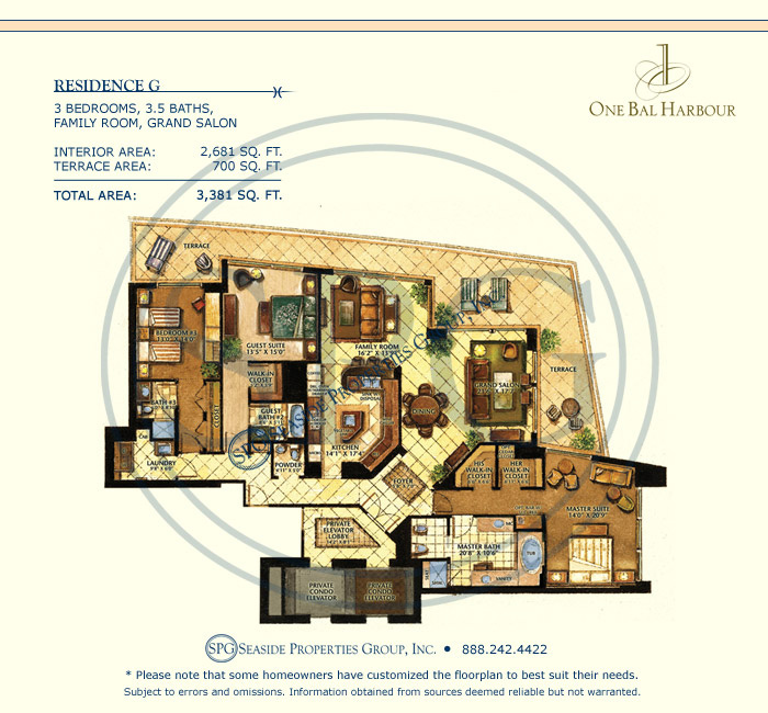 Residence G Floorplan at One Bal Harbour, Luxury Oceanfront Condo