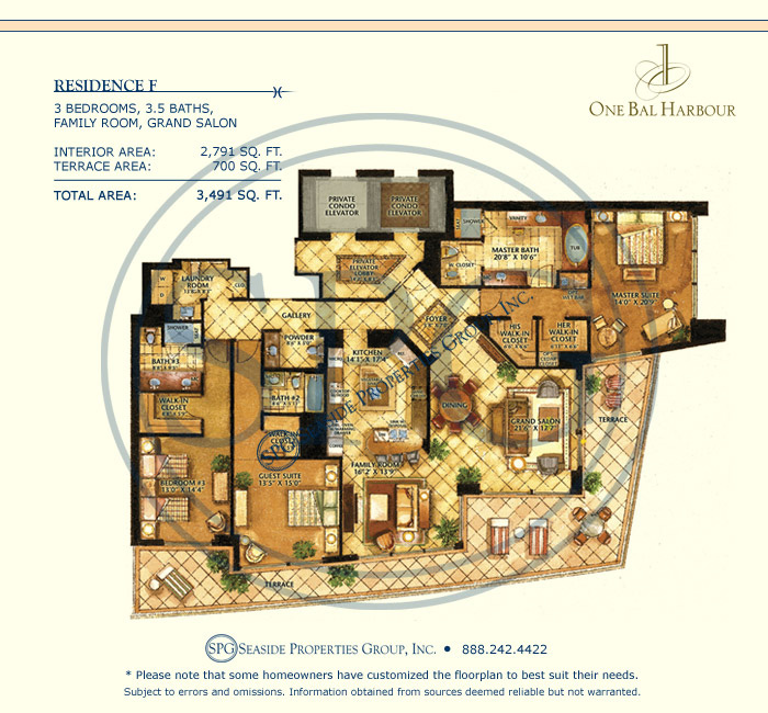Residence F Floorplan at One Bal Harbour, Luxury Oceanfront Condo