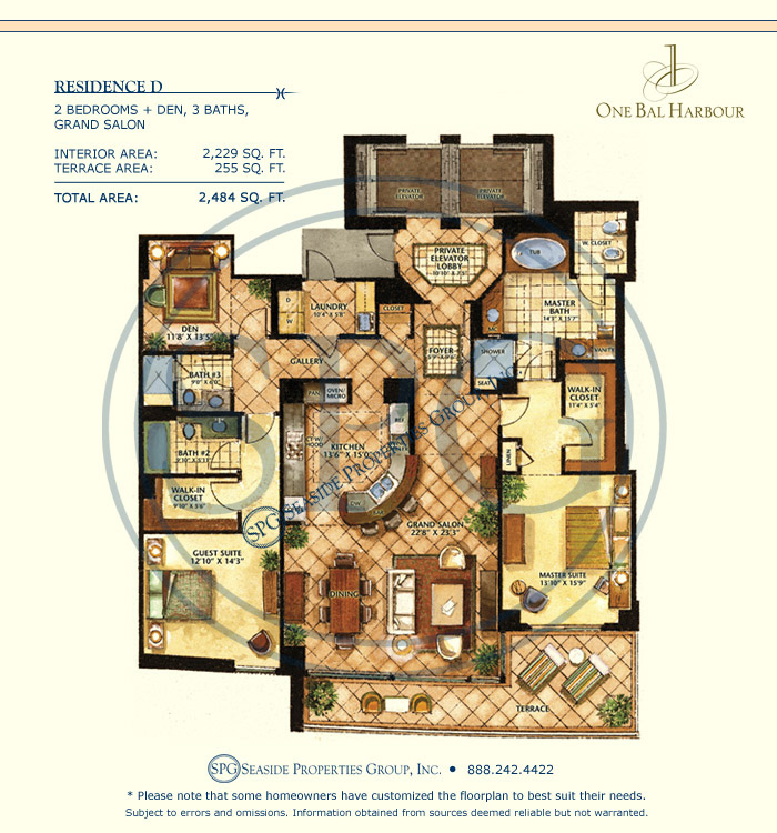 Residence D Floorplan at One Bal Harbour, Luxury Oceanfront Condo