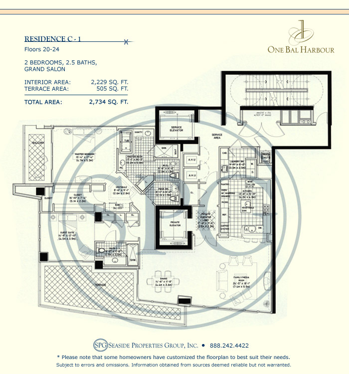 Residence C-1 Floorplan at One Bal Harbour, Luxury Oceanfront Condo