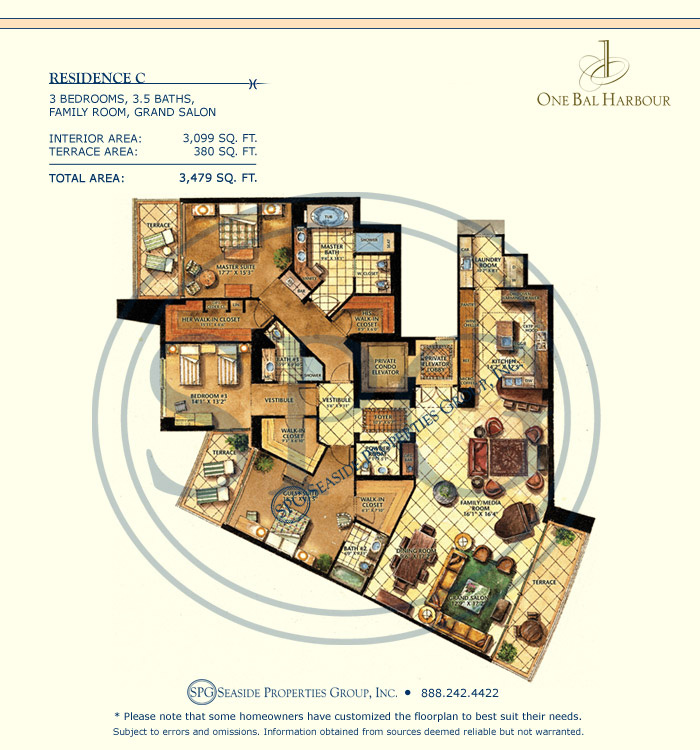 Residence C Floorplan at One Bal Harbour, Luxury Oceanfront Condo