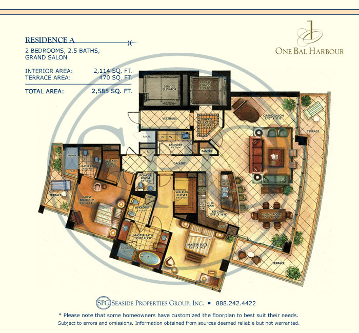 Residence A Floorplan at One Bal Harbour, Luxury Oceanfront Condo