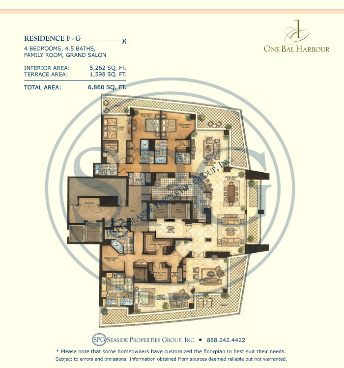 Residence FG Floorplan at One Bal Harbour, Luxury Oceanfront Condo