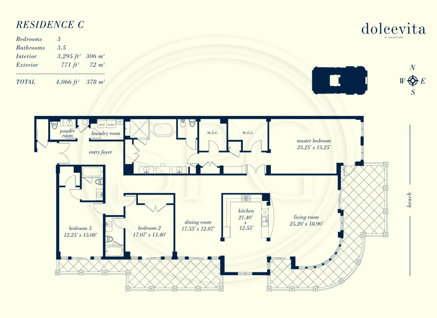 Residence C Floorplan at Dolcevita Luxury Oceanfront Condo on Singer Island