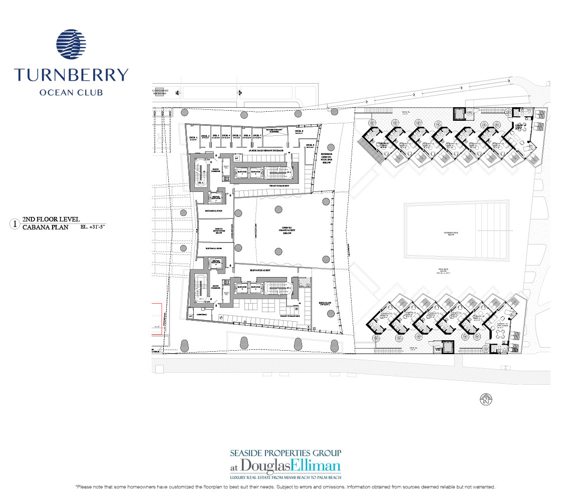 Level 2 Cabana Floorplan for Turnberry Ocean Club, Luxury Oceanfront Condos in Sunny Isles Beach, Miami, 33160.
