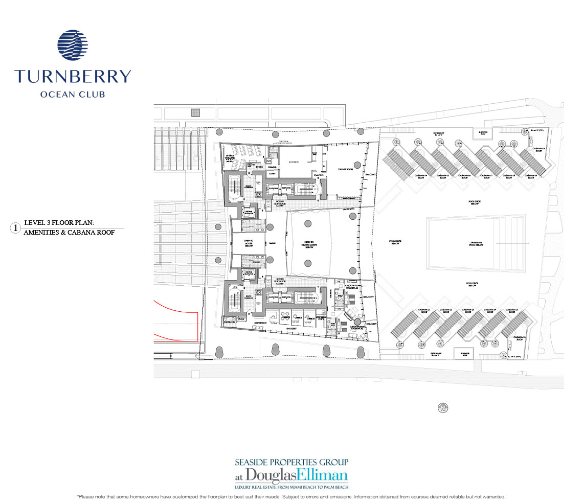 Level 3 Amenities Floorplan for Turnberry Ocean Club, Luxury Oceanfront Condos in Sunny Isles Beach, Miami, 33160.