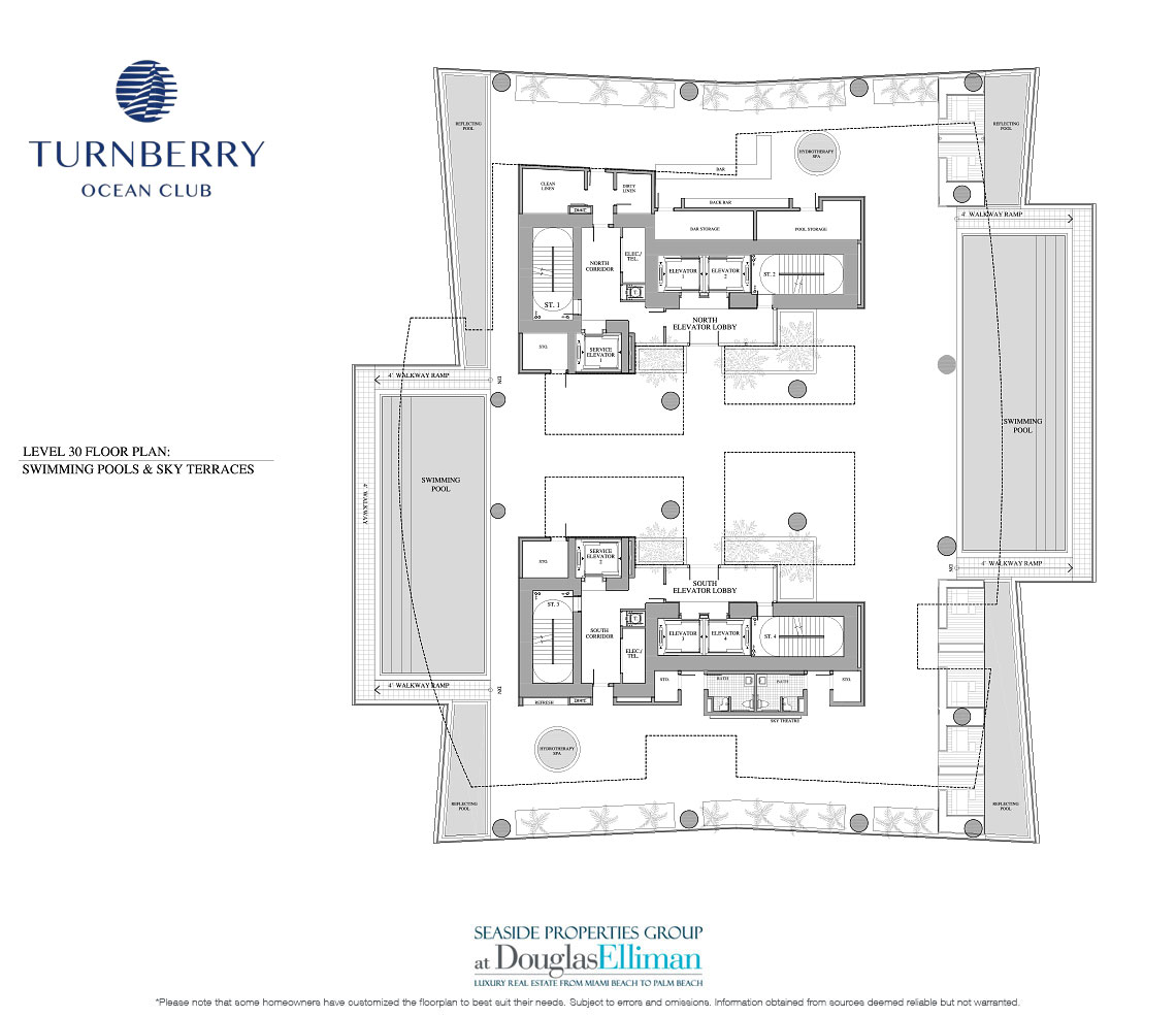 Level 30 Pools and Sky Terraces Floorplan for Turnberry Ocean Club, Luxury Oceanfront Condos in Sunny Isles Beach, Miami, 33160.