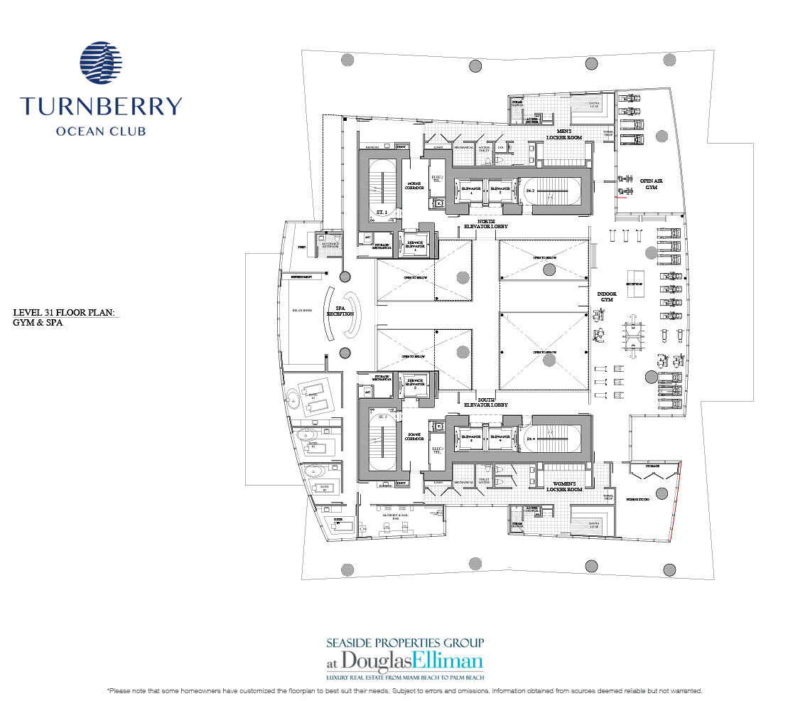 Level 31 Gym and Spa Terraces Floorplan for Turnberry Ocean Club, Luxury Oceanfront Condos in Sunny Isles Beach, Miami, 33160.