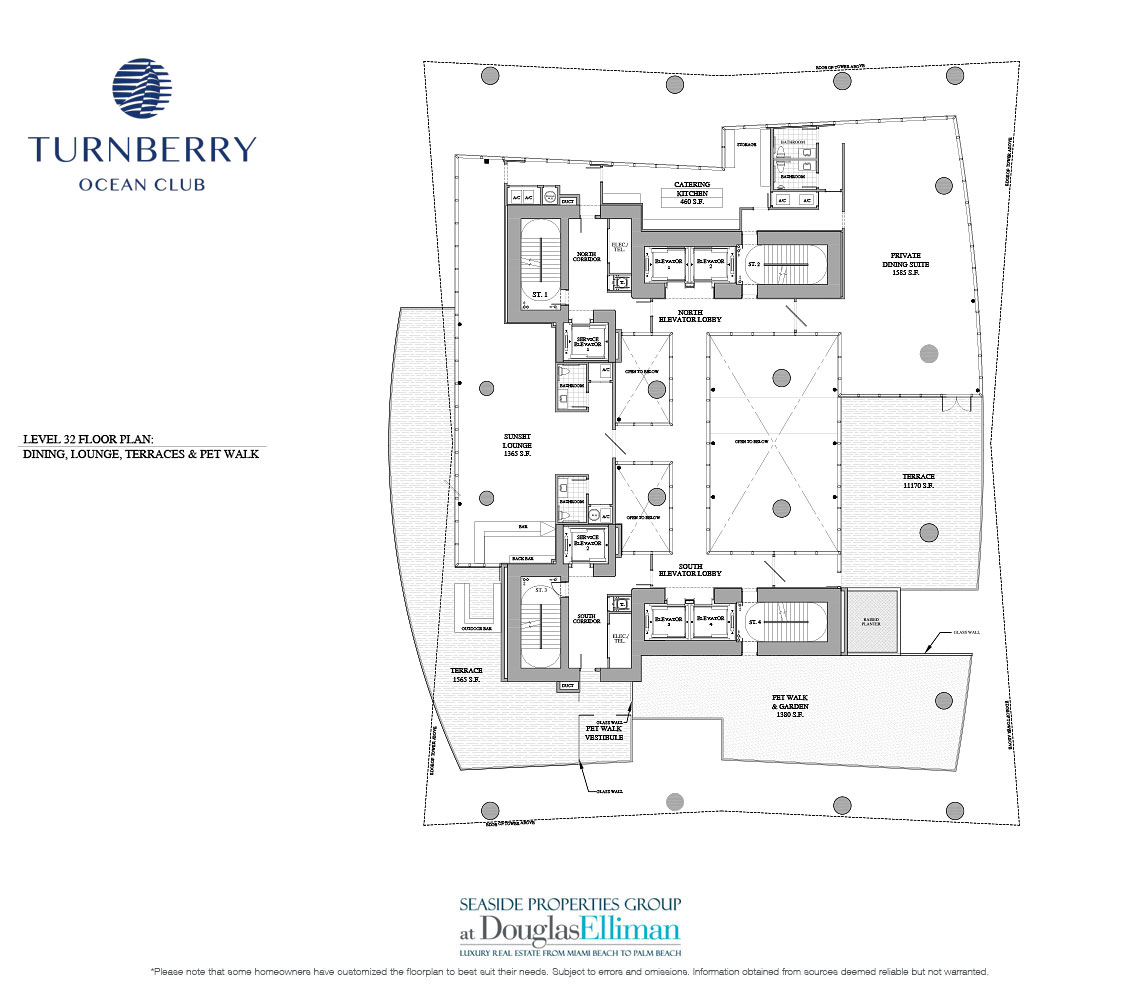 Level 32 Dining, Lounge & Terraces Floorplan for Turnberry Ocean Club, Luxury Oceanfront Condos in Sunny Isles Beach, Miami, 33160.