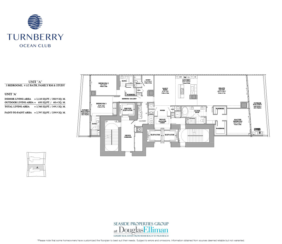 The Unit A Floorplan for Turnberry Ocean Club, Luxury Oceanfront Condos in Sunny Isles Beach, Miami, 33160.