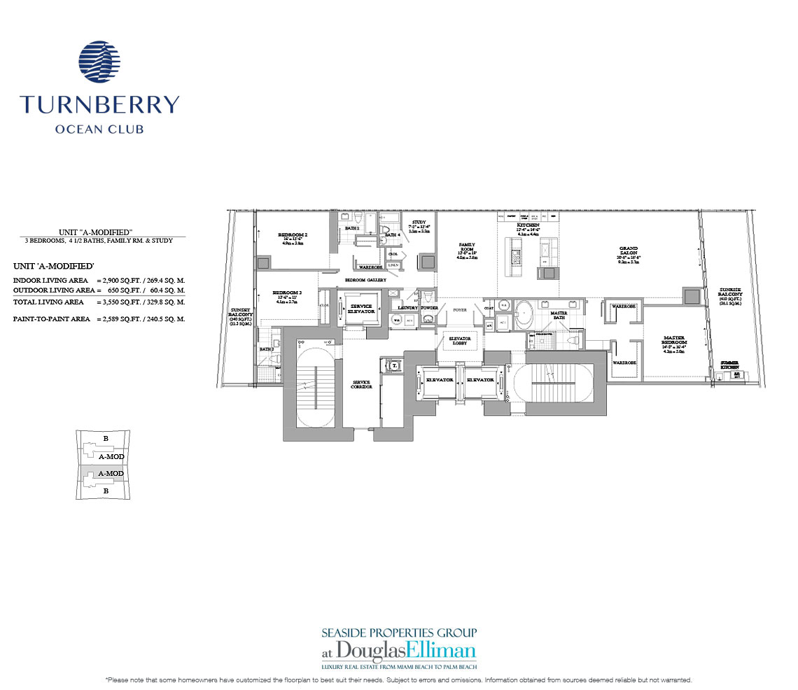 The Unit A Modified Floorplan for Turnberry Ocean Club, Luxury Oceanfront Condos in Sunny Isles Beach, Miami, 33160.