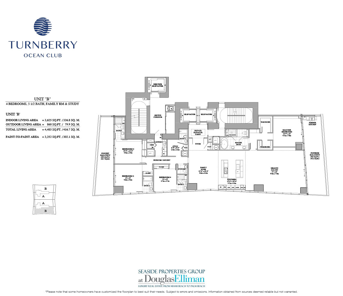 The Unit B Floorplan for Turnberry Ocean Club, Luxury Oceanfront Condos in Sunny Isles Beach, Miami, 33160.