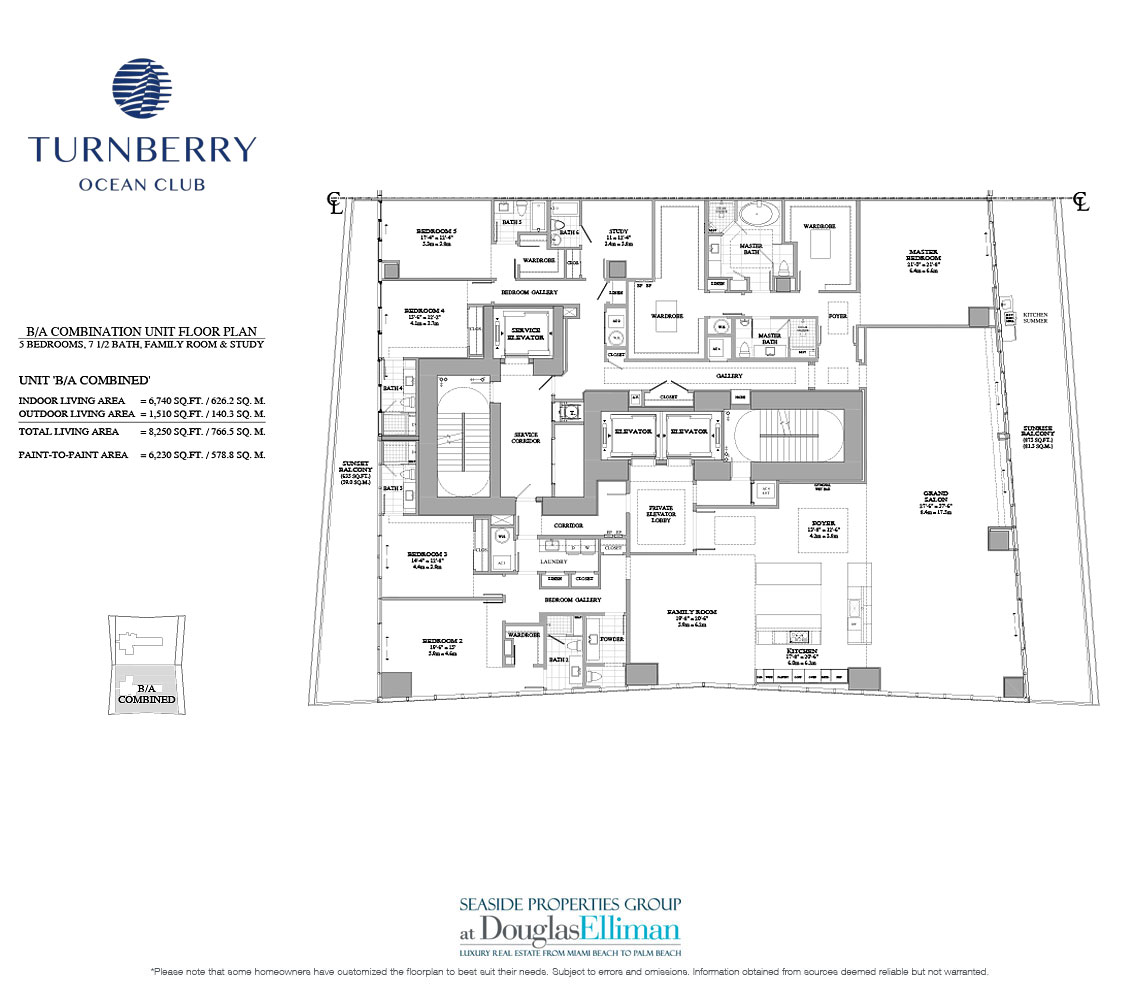 The Unit B-A Combo Floorplan for Turnberry Ocean Club, Luxury Oceanfront Condos in Sunny Isles Beach, Miami, 33160.