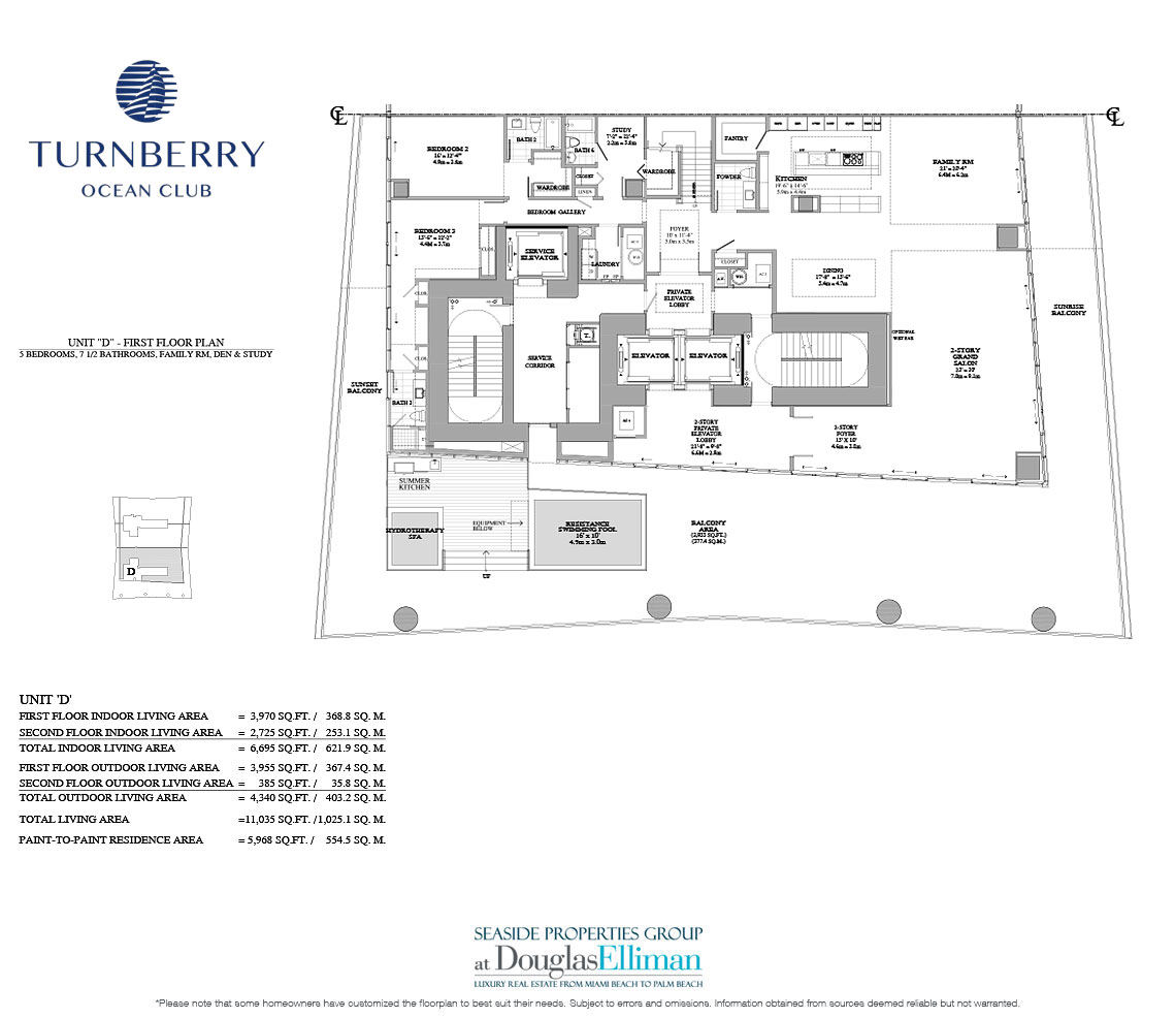 The Unit D 1st Floor Floorplan for Turnberry Ocean Club, Luxury Oceanfront Condos in Sunny Isles Beach, Miami, 33160.