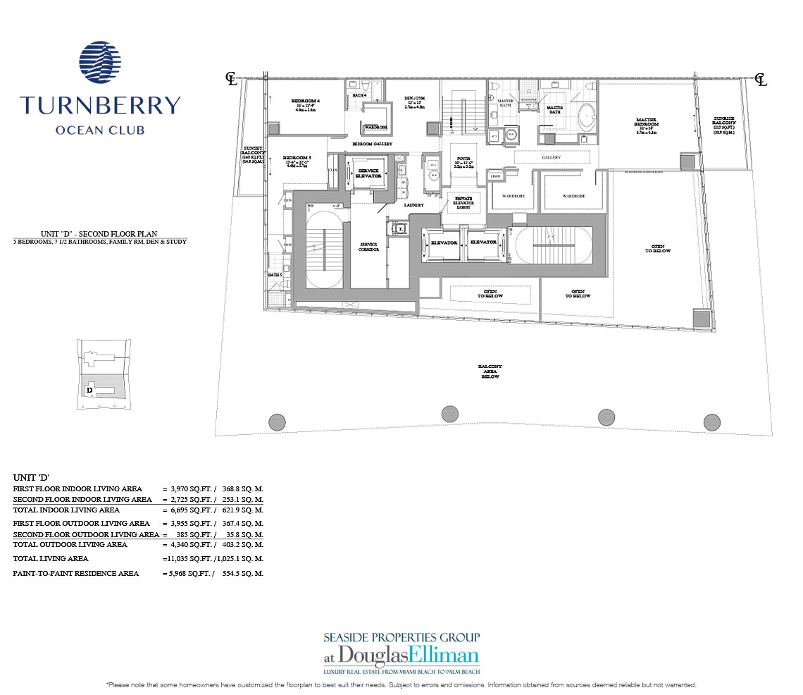 The Unit D 2nd Floor Floorplan for Turnberry Ocean Club, Luxury Oceanfront Condos in Sunny Isles Beach, Miami, 33160.