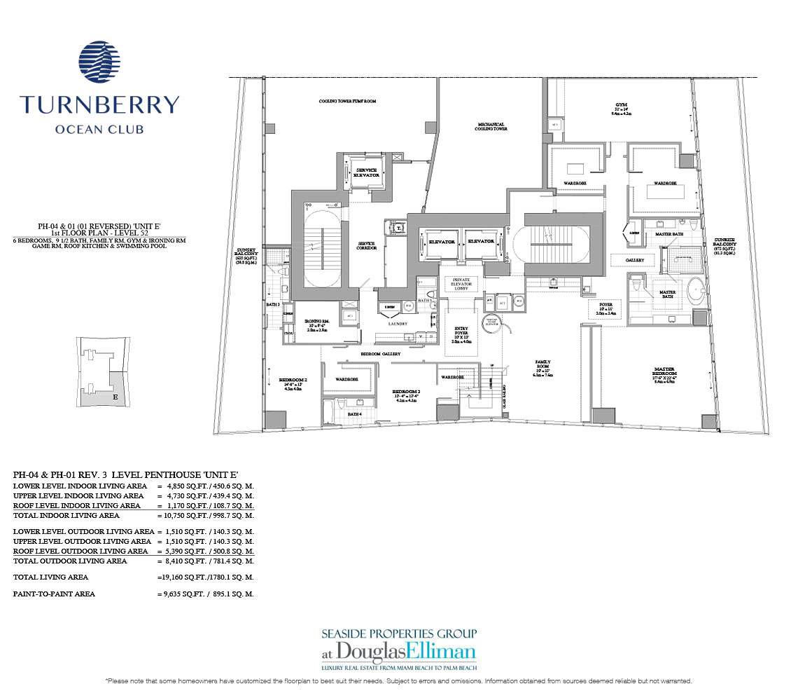 The Unit E 1st Floor Floorplan for Turnberry Ocean Club, Luxury Oceanfront Condos in Sunny Isles Beach, Miami, 33160.