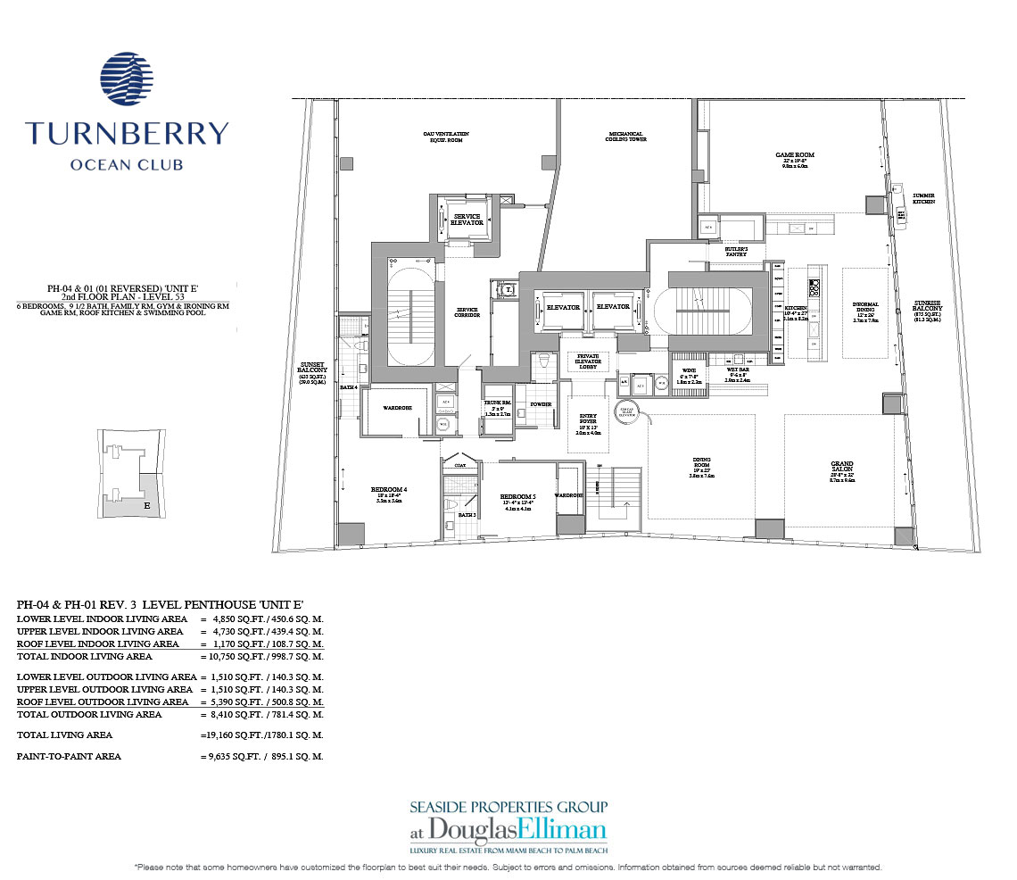 The Unit E 2nd Floor Floorplan for Turnberry Ocean Club, Luxury Oceanfront Condos in Sunny Isles Beach, Miami, 33160.
