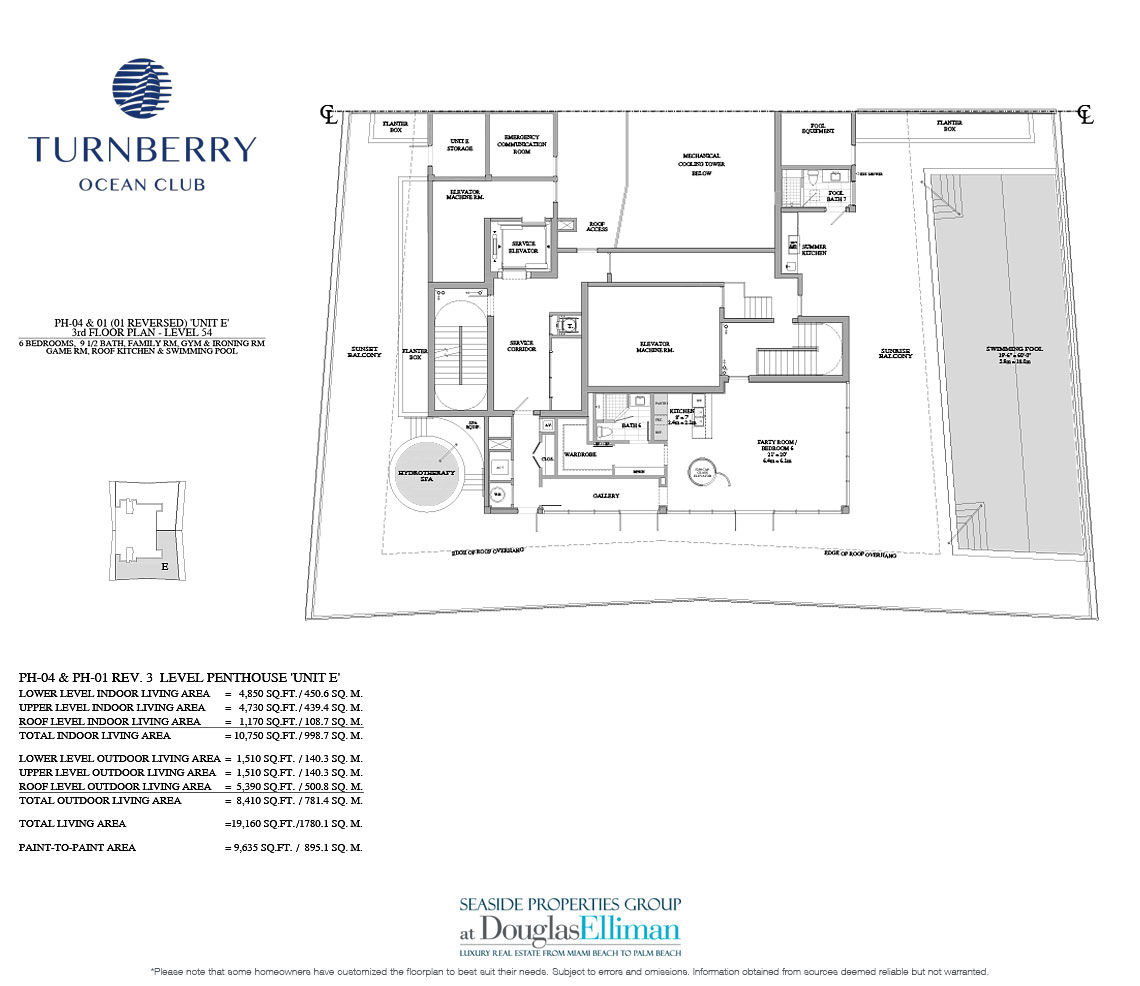 The Unit E 3rd Floor Floorplan for Turnberry Ocean Club, Luxury Oceanfront Condos in Sunny Isles Beach, Miami, 33160.