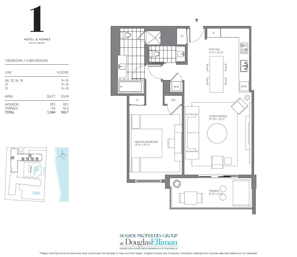 1 hotel homes floor plans luxury oceanfront condos in for Oceanfront floor plan