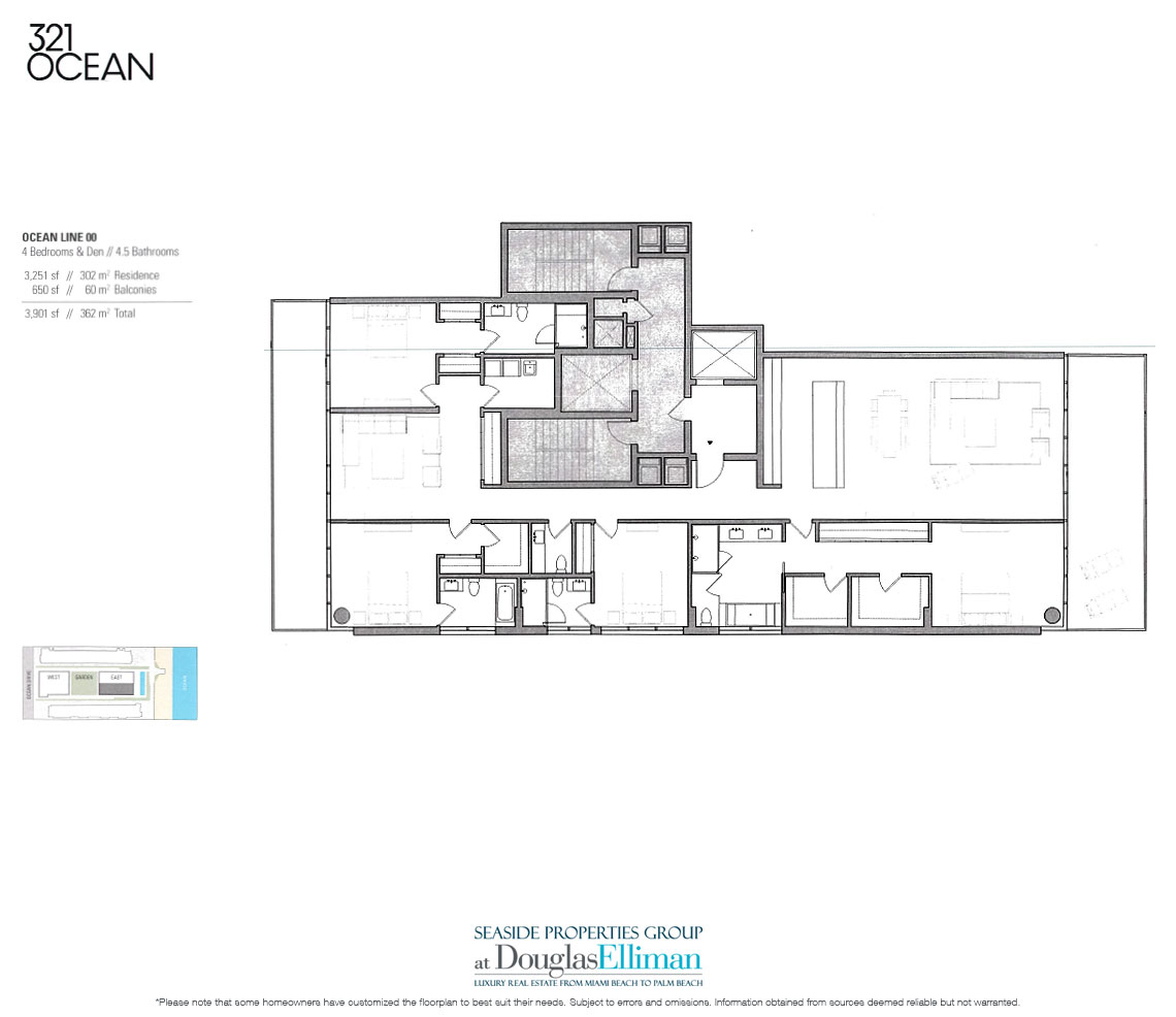 321 ocean floor plans luxury oceanfront condos in south beach for Oceanfront floor plan