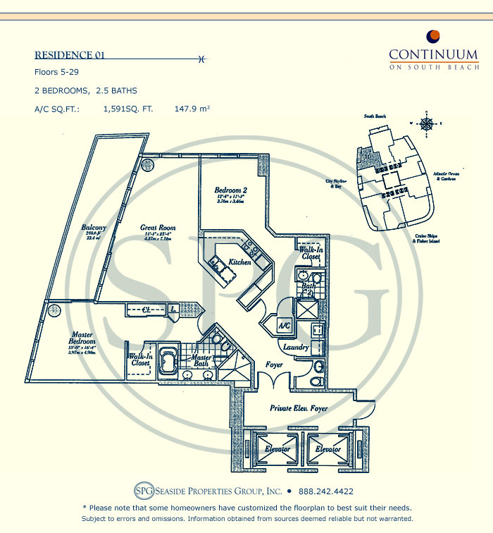 01 Floorplan for Continuum, Luxury Oceanfront Condos in Miami Beach, Florida 33139