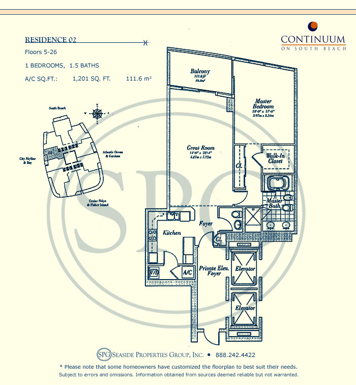 02 Floorplan for Continuum, Luxury Oceanfront Condos in Miami Beach, Florida 33139