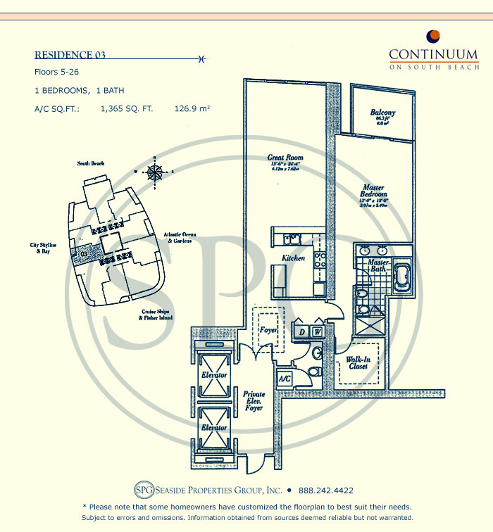 03 Floorplan for Continuum, Luxury Oceanfront Condos in Miami Beach, Florida 33139