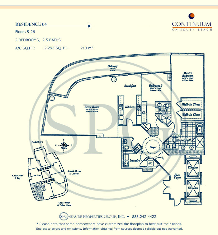04 Floorplan for Continuum, Luxury Oceanfront Condos in Miami Beach, Florida 33139