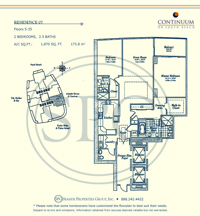 07 Floorplan for Continuum, Luxury Oceanfront Condos in Miami Beach, Florida 33139