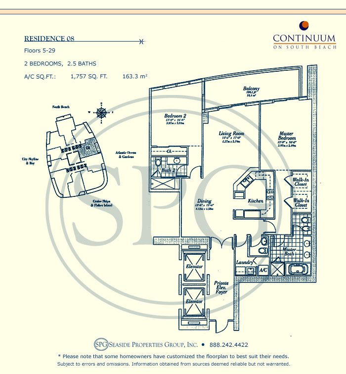 08 Floorplan for Continuum, Luxury Oceanfront Condos in Miami Beach, Florida 33139