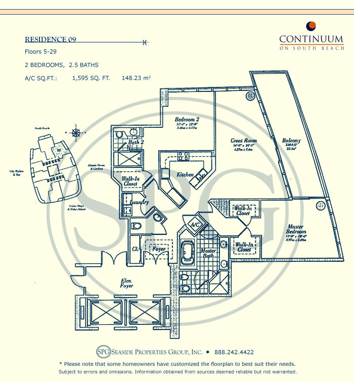 09 Floorplan for Continuum, Luxury Oceanfront Condos in Miami Beach, Florida 33139