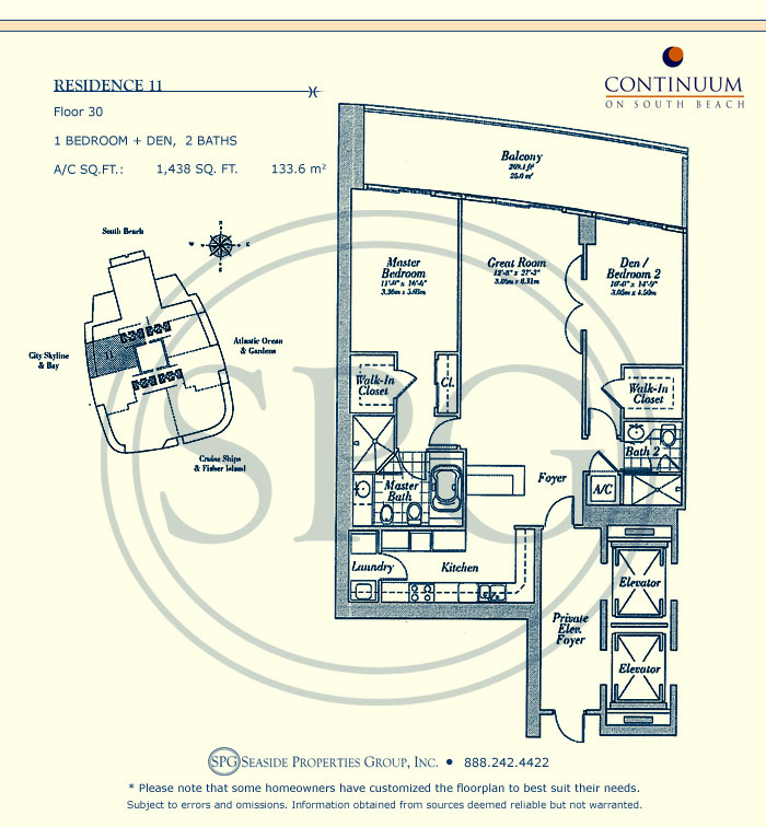 11 Floorplan for Continuum, Luxury Oceanfront Condos in Miami Beach, Florida 33139
