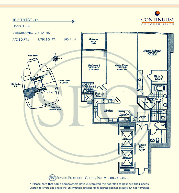 12 Floorplan for Continuum, Luxury Oceanfront Condos in Miami Beach, Florida 33139