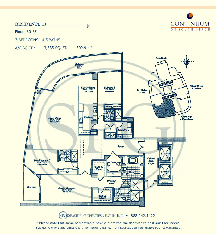 13 Floorplan for Continuum, Luxury Oceanfront Condos in Miami Beach, Florida 33139