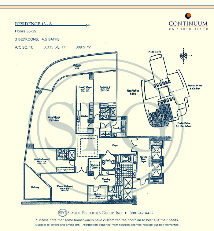 13-A Floorplan for Continuum, Luxury Oceanfront Condos in Miami Beach, Florida 33139