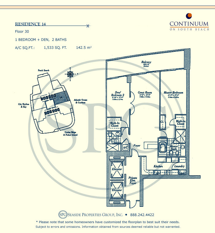 14 Floorplan for Continuum, Luxury Oceanfront Condos in Miami Beach, Florida 33139