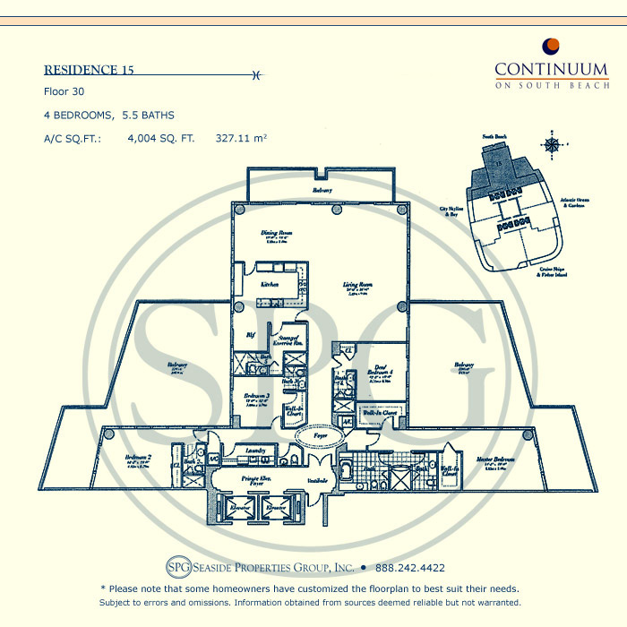 15 Floorplan for Continuum, Luxury Oceanfront Condos in Miami Beach, Florida 33139