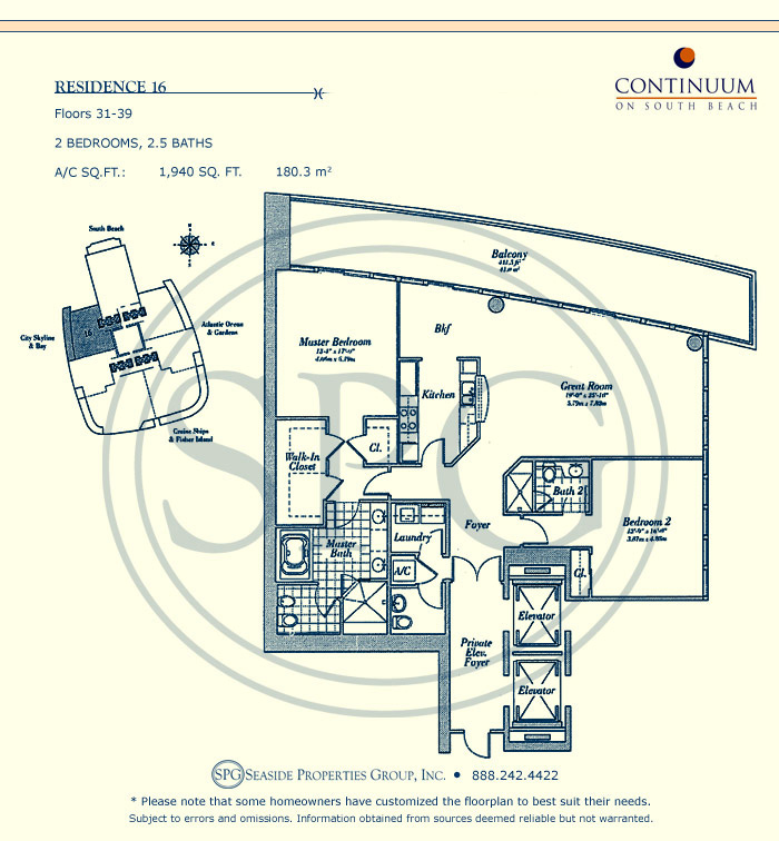 16 Floorplan for Continuum, Luxury Oceanfront Condos in Miami Beach, Florida 33139