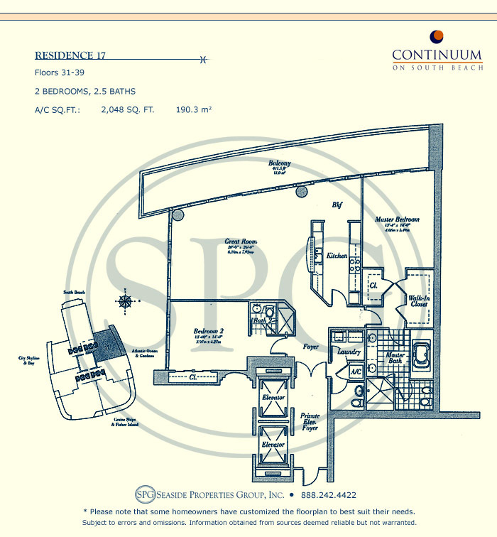 17 Floorplan for Continuum, Luxury Oceanfront Condos in Miami Beach, Florida 33139