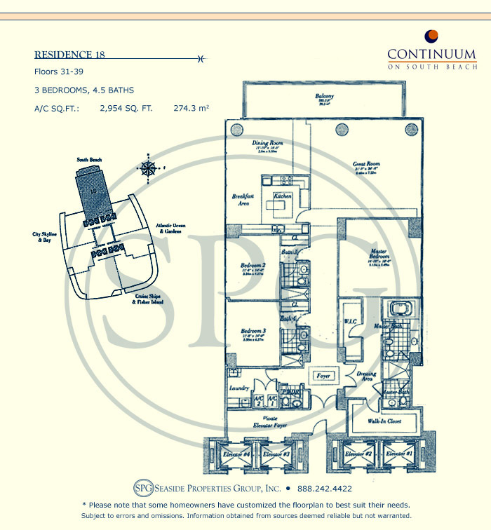 18 Floorplan for Continuum, Luxury Oceanfront Condos in Miami Beach, Florida 33139