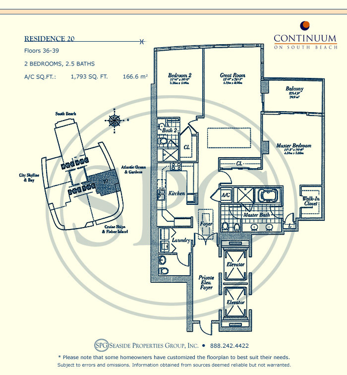 20 Floorplan for Continuum, Luxury Oceanfront Condos in Miami Beach, Florida 33139