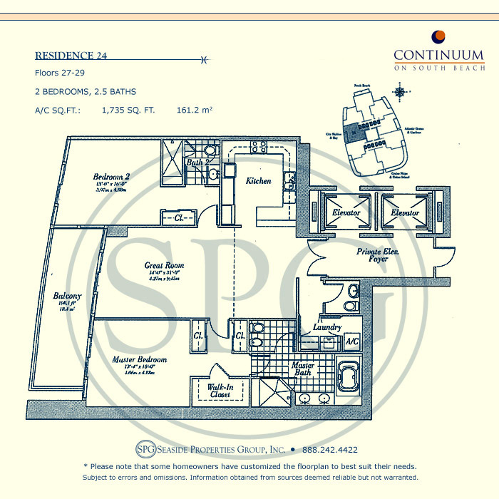 24 Floorplan for Continuum, Luxury Oceanfront Condos in Miami Beach, Florida 33139