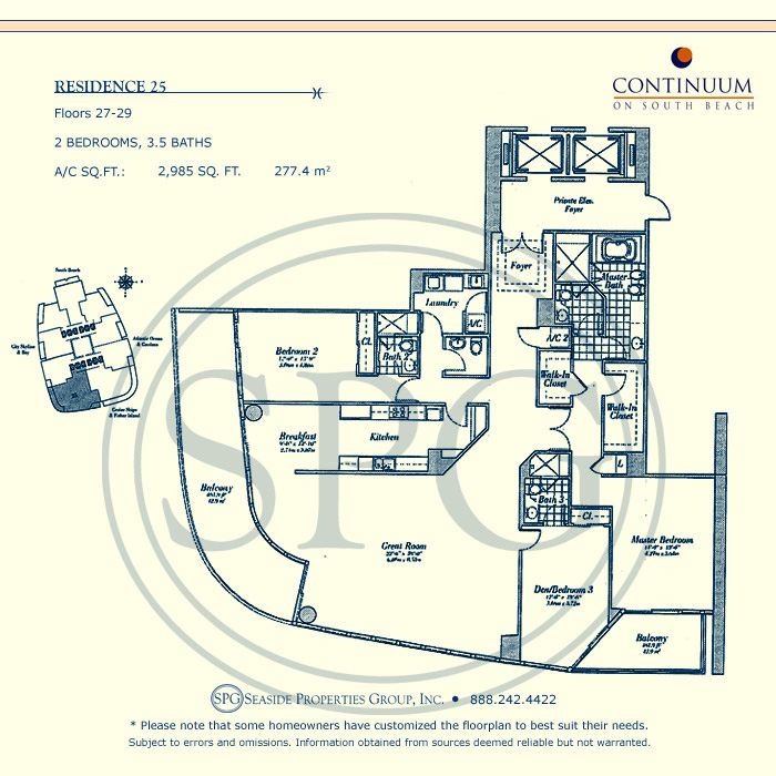 25 Floorplan for Continuum, Luxury Oceanfront Condos in Miami Beach, Florida 33139