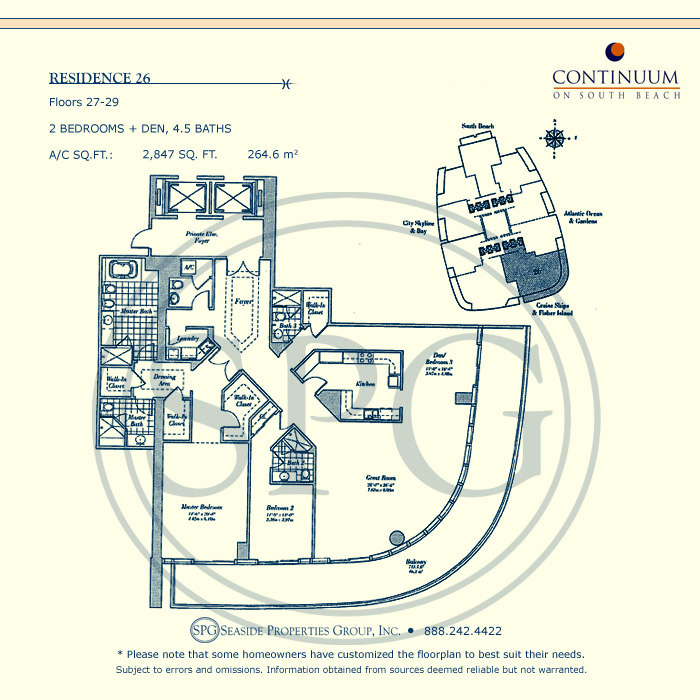 26 Floorplan for Continuum, Luxury Oceanfront Condos in Miami Beach, Florida 33139