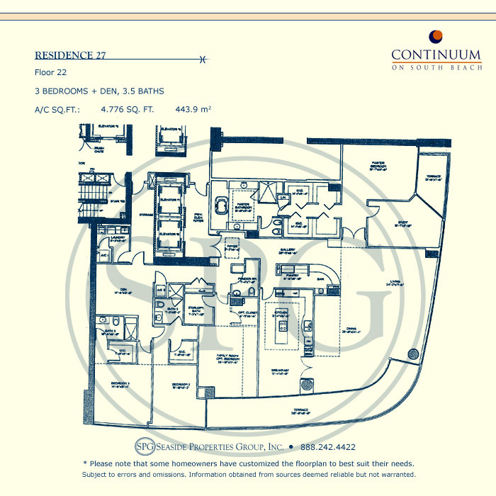 27 Floorplan for Continuum, Luxury Oceanfront Condos in Miami Beach, Florida 33139