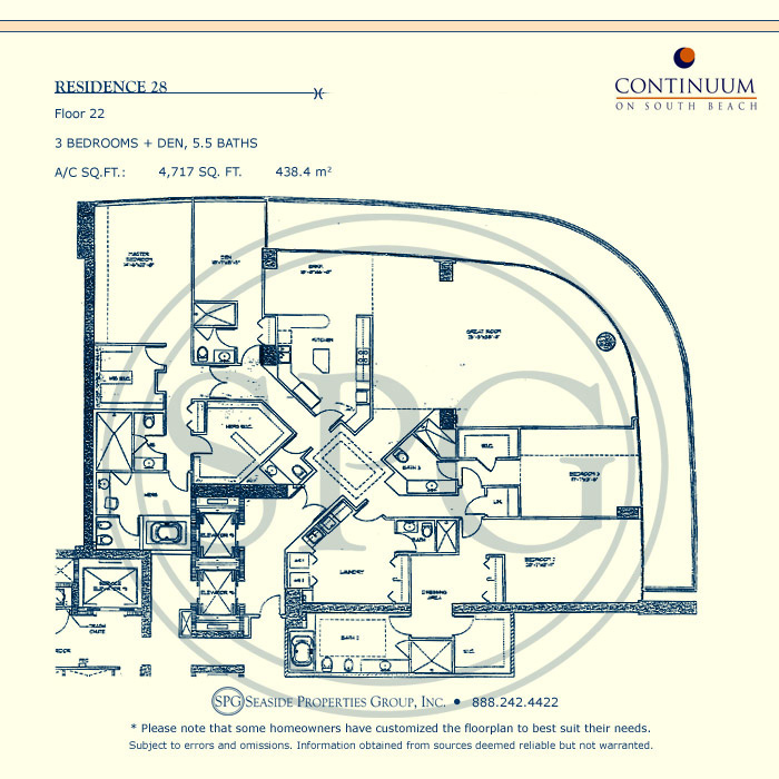 28 Floorplan for Continuum, Luxury Oceanfront Condos in Miami Beach, Florida 33139