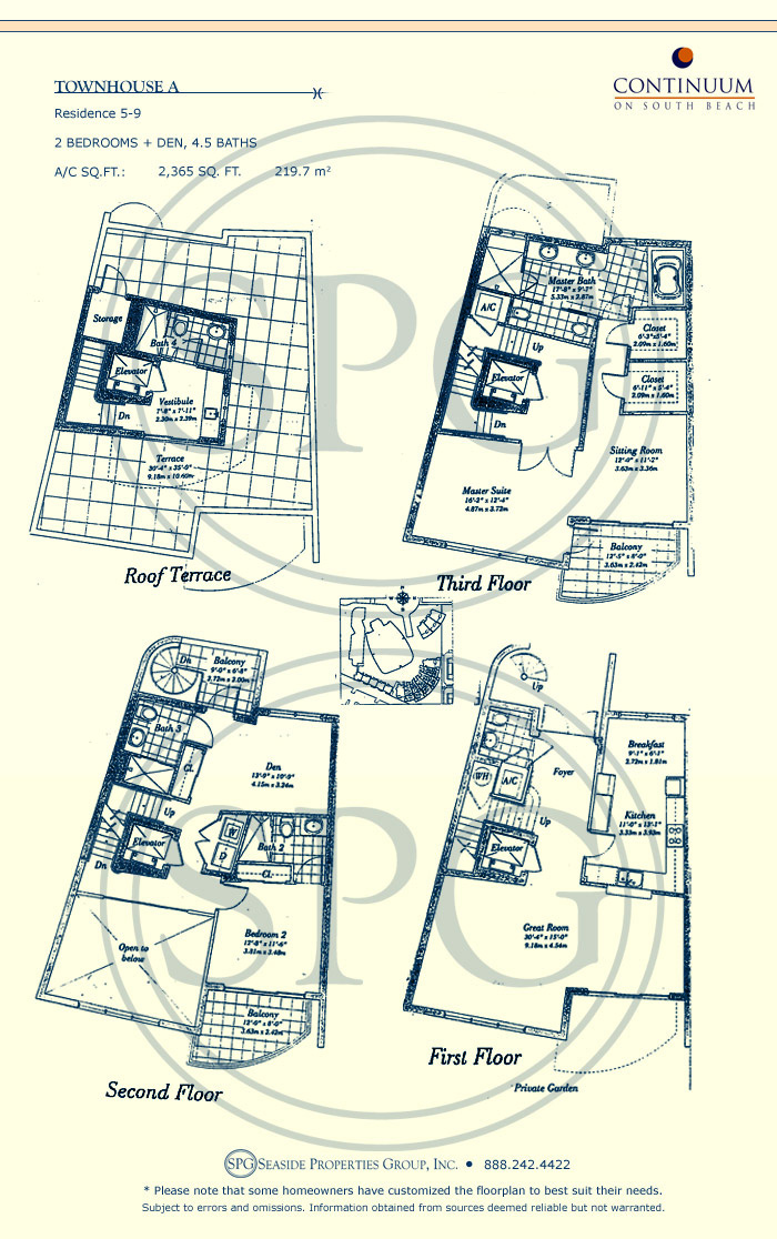 Townhouse A Floorplan for Continuum, Luxury Oceanfront Condos in Miami Beach, Florida 33139