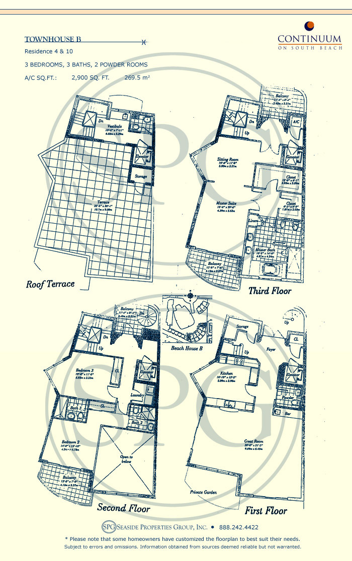 Townhouse B Floorplan for Continuum, Luxury Oceanfront Condos in Miami Beach, Florida 33139
