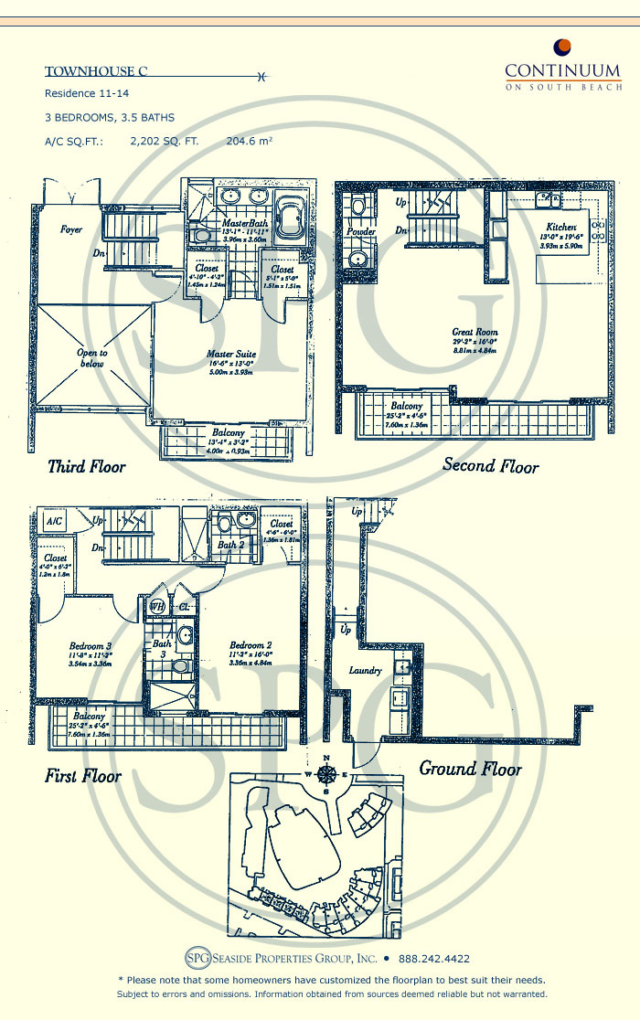 Townhouse C Floorplan for Continuum, Luxury Oceanfront Condos in Miami Beach, Florida 33139