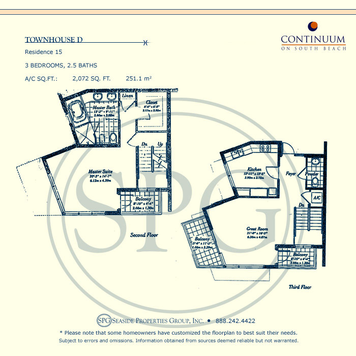 Townhouse D Floorplan for Continuum, Luxury Oceanfront Condos in Miami Beach, Florida 33139